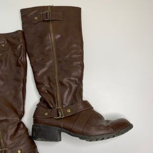 Dark Brown & Gold Tall Vegan Leather Boots 10